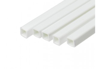 ABS Square Tube 4.0mm x 4.0mm x 500mm White (Qty 5)