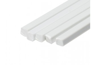 ABS Square Rod 4.0mm x 4.0mm x 500mm White (Qty 5)