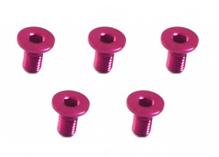 Screw Flat Head Hex M3x6mm Machine Thread 7075 Aluminum Pink (5pcs)