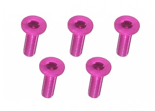 Screw Flat Head Hex M3x10mm Machine Thread 7075 Aluminum Pink (5pcs)