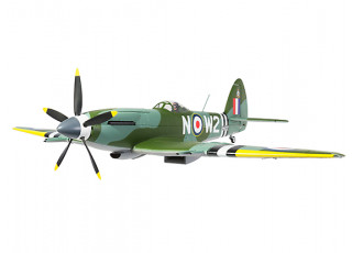 """Durafly™ Supermarine Spitfire Mk24 V2 with Retracts/Flaps/Nav Lights ESC 1100mm (43"""") (PNF) - front flying"""