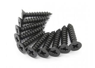 Screw Flat Head Phillips M3x14mm Self Tapping Steel Black (10pcs)