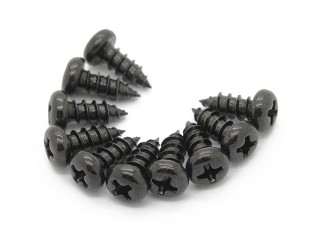 Screw Round Head Phillips M4x10mm Self Tapping Steel Black (10pcs)
