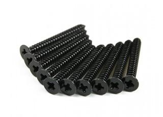 Screw Flat Head Phillips M2.6x24mm Self Tapping Steel Black (10pcs)