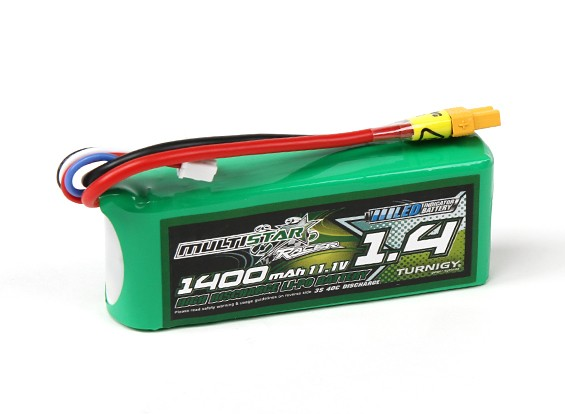 MultiStar 1400mAh 3S 40C Multi-Rotor Lipo Pack (with LED indicator)
