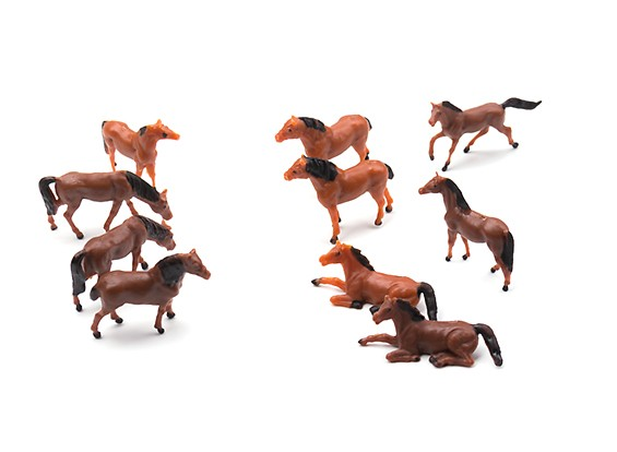 1/87th (HO scale) Assorted Horses (10pcs)