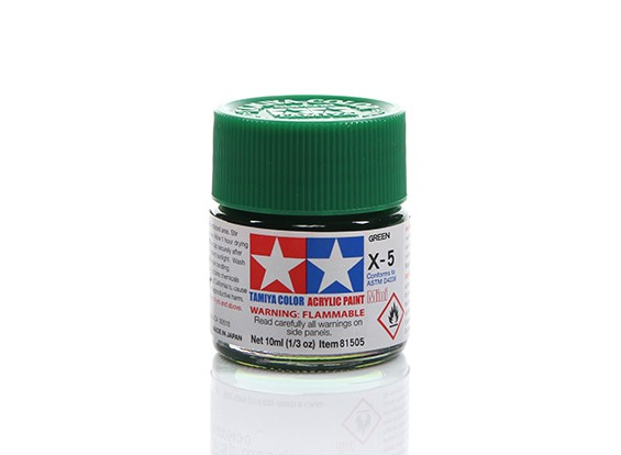 Tamiya X-5 Gloss Green Mini Acrylic Paint (10ml)