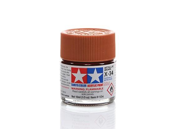 Tamiya X-34 Gloss Metallic Brown Mini Acrylic Paint (10ml)