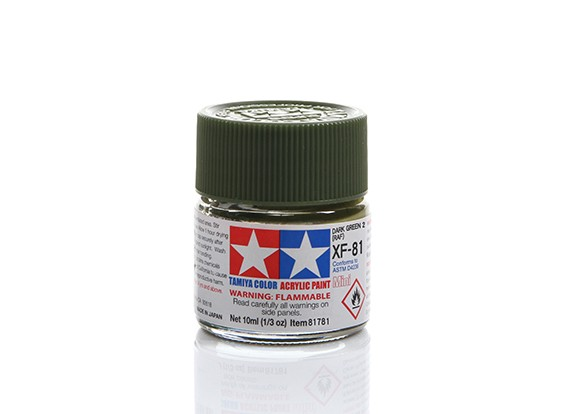 Tamiya XF-81 Flat RAF Dark Green 2 Mini Acrylic Paint (10ml)