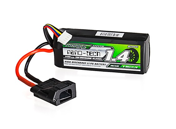 Turnigy nano-tech 1400mAh 3S 30C LiPo Pack w/ Flat Connector