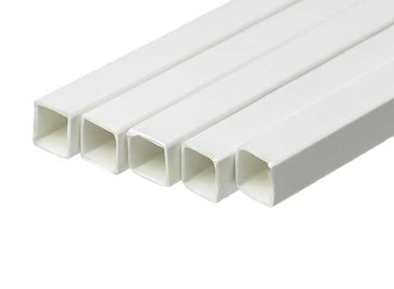 ABS Square Tube 10.0mm x 10.0mm x 500mm White (Qty 5)