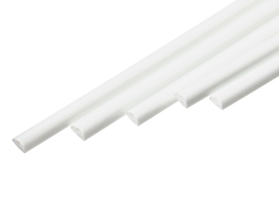 ABS Half Round Rod 3.0mm x 500mm White (Qty 5)