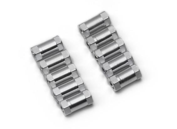 Lightweight Aluminium Round Section Spacer M3x10mm (Silver) (10pcs)