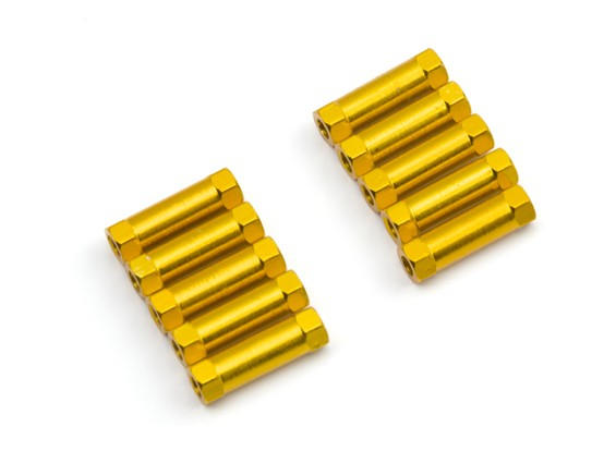 Lightweight Aluminium Round Section Spacer M3x17mm (Gold) (10pcs)