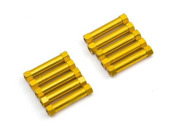 Lightweight Aluminium Round Section Spacer M3x24mm (Gold) (10pcs)