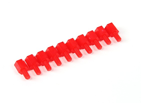 Nylon Spacer 10mm M3 M/F Red (10pcs)