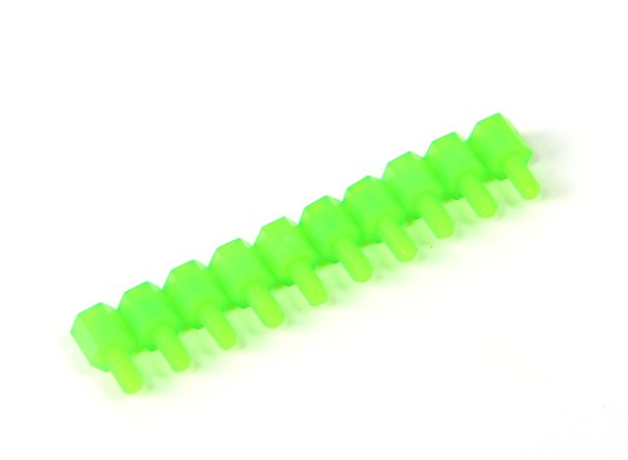 Nylon Spacer 6mm M3 M/F Green (10pcs)