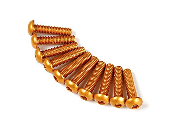 Screw Round Head Hex M3 x 12mm 7075 Aluminium Gold (10pcs)