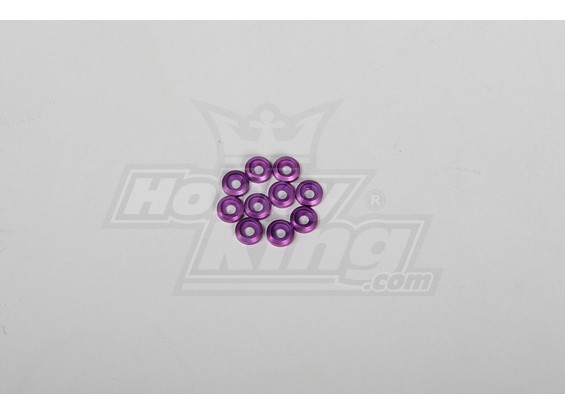 Metal Finish cap for 3mm Screw for all 30-90 helis Purple (10pcs)