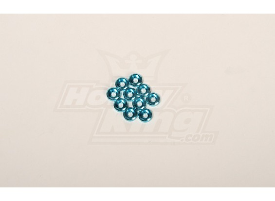 Metal Finish cap for 3mm Screw for all 30-90 helis Blue (10pcs)