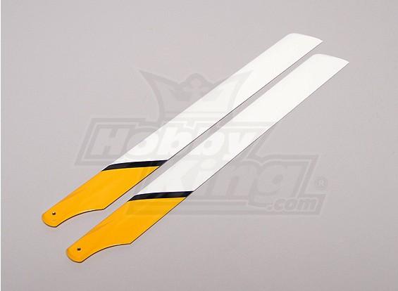 430mm Carbon/Glass Fiber Composite Main Blade (Yellow/White/Black)
