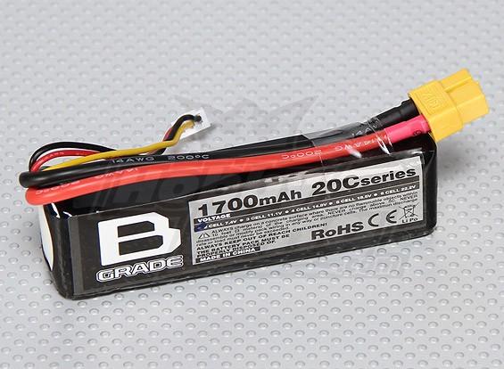 B-Grade 1700mAh 2S 20C Lipoly Battery
