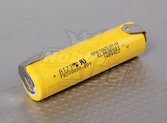 GENUINE A123 Systems 18650 1100mAh LiFePo4 Cell w/ tabs (GENUINE)