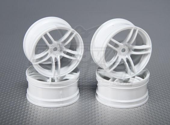 1:10 Scale Wheel Set (4pcs) White Split 5-Spoke RC Car 26mm (3mm offset)