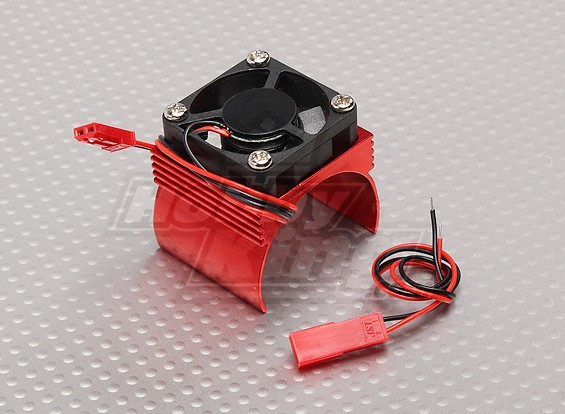 Motor Heat Sink w/Fan Red Aluminum (34mm)