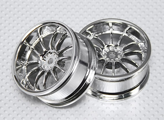 1:10 Scale Wheel Set (2pcs) Chrome Split 6-Spoke RC Car 26mm (3mm Offset)