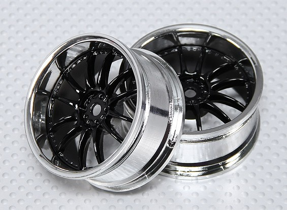 1:10 Scale Wheel Set (2pcs) Black/Chrome Split 6-Spoke RC Car 26mm (3mm offset)
