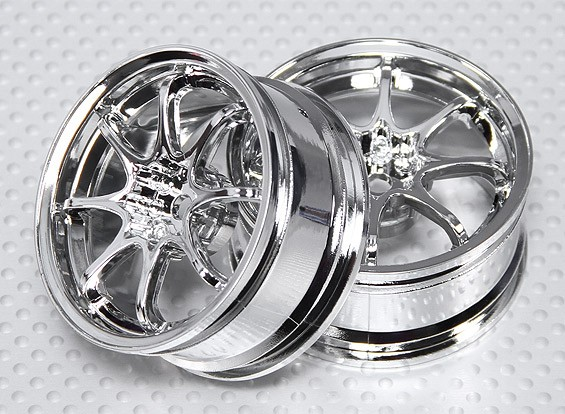 1:10 Scale Wheel Set (2pcs) Chrome 8-Spoke RC Car 26mm (3mm offset)