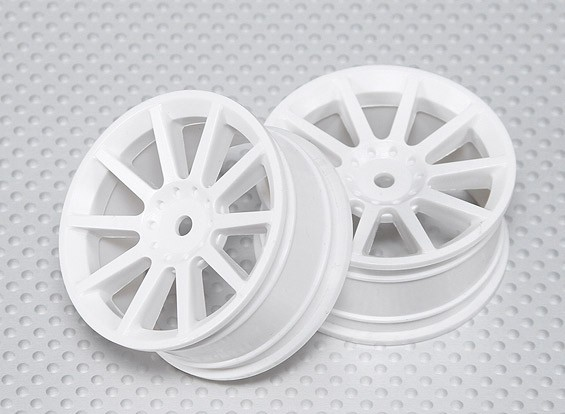 1:10 Scale Wheel Set (2pcs) White 10-Spoke RC Car 26mm (No Offset)