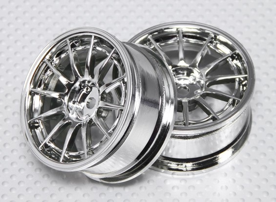 1:10 Scale Wheel Set (2pcs) Chrome 12-Spoke RC Car 26mm (no offset)