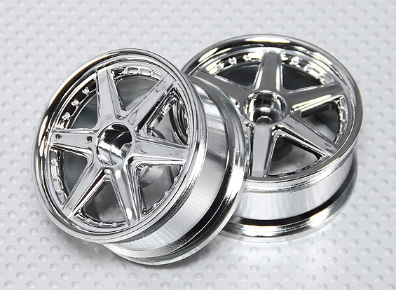 1:10 Scale Wheel Set (2pcs) Chrome 6-Spoke RC Car 26mm (No Offset)