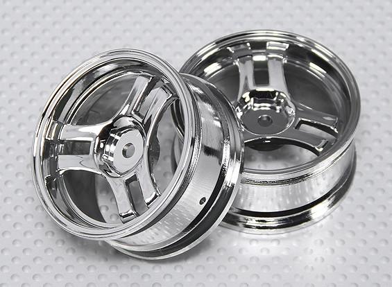 1:10 Scale Wheel Set (2pcs) Chrome Split 3-Spoke RC Car 26mm (No Offset)
