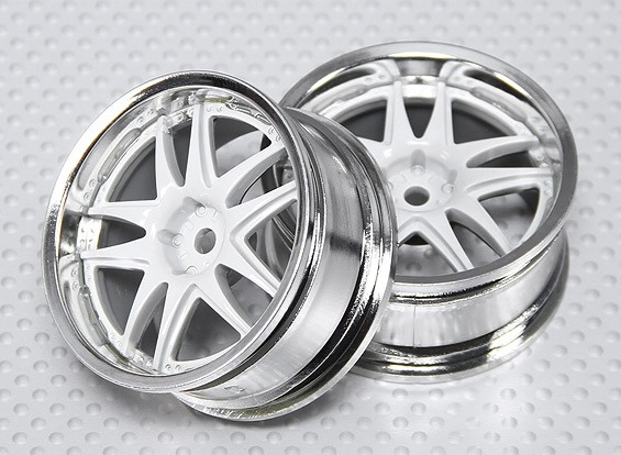 1:10 Scale Wheel Set (2pcs) White/Chrome Split 5-Spoke RC Car 26mm (no offset)