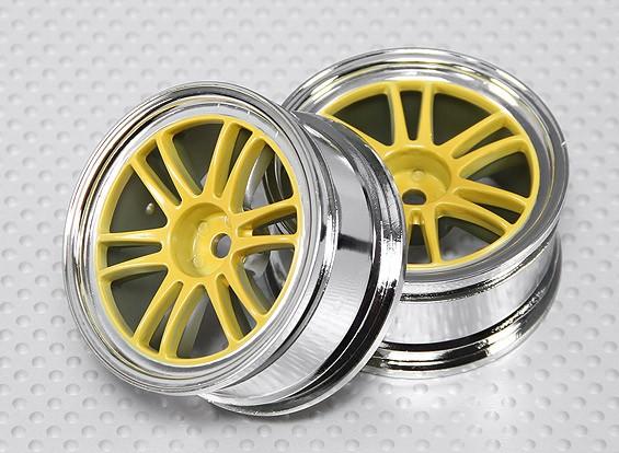 1:10 Scale Wheel Set (2pcs) Chrome/Yellow Split 6-Spoke RC Car 26mm (No Offset)
