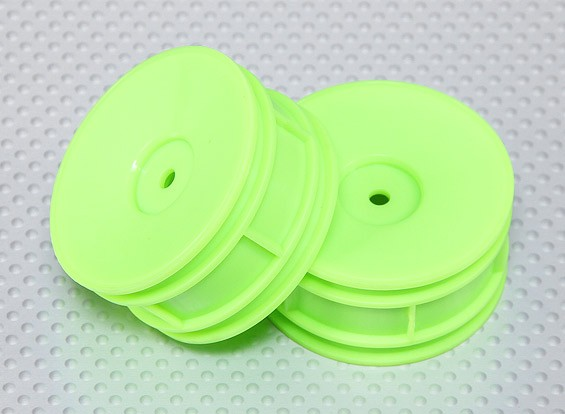 1:10 Scale Wheel Set (2pcs) Flourescent Green Dish RC Car 26mm (No Offset)
