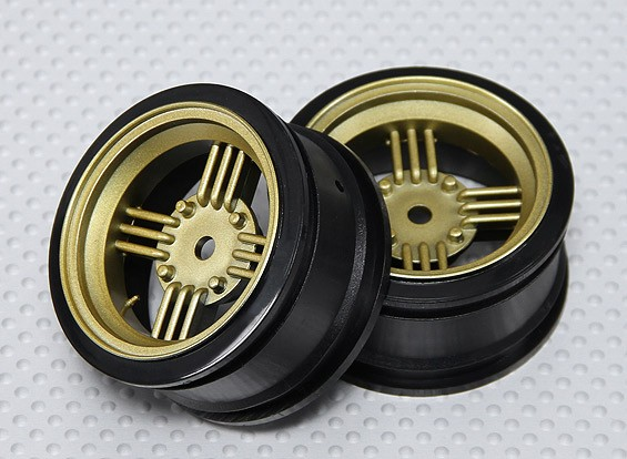 1:10 Scale Wheel Set (2pcs) Gold/Black Retro 4-Spoke RC Car 26mm (No Offset)