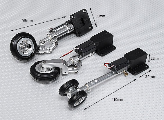 Servoless Retractable Landing Gear V2 (Tricycle) with Oleo Leg's & Alloy Wheels