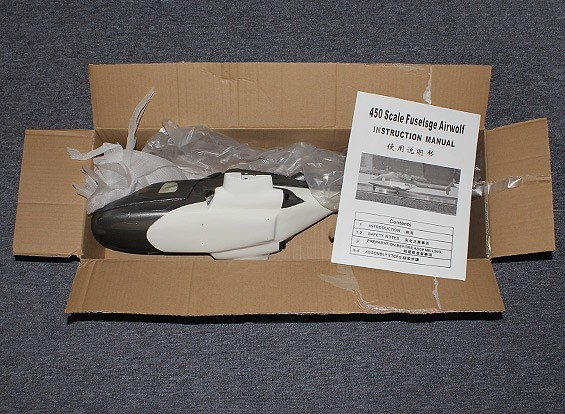 SCRATCH/DENT Airwolf Fiberglass Fuselage for 450 size heli