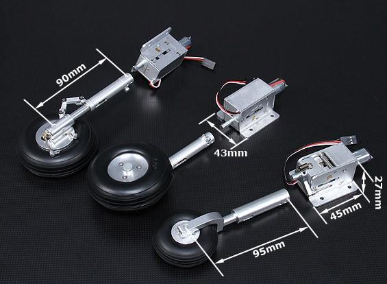 Turnigy Full Metal Servoless Retract w/Oleo Legs and Braking System (90mm T-33)
