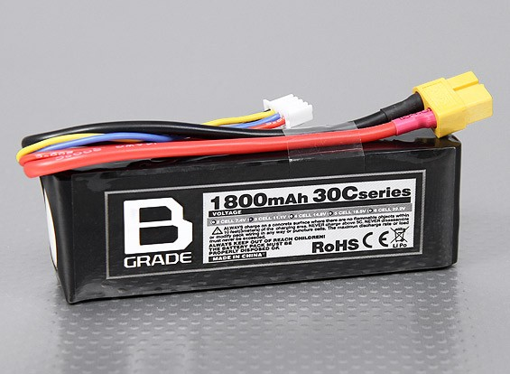 B-Grade 1800mAh 3S 30C Lipoly Battery