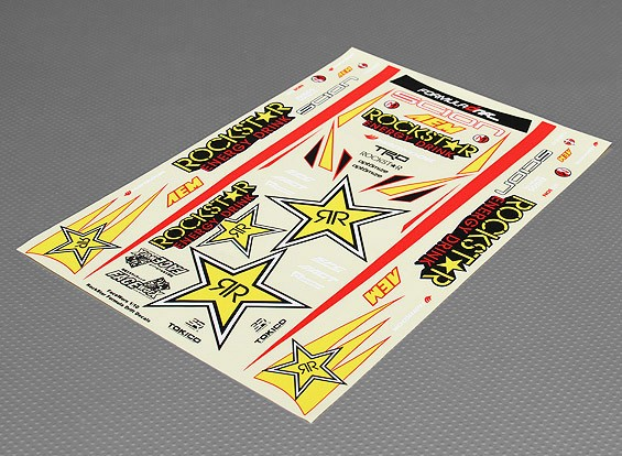 Self Adhesive Decal Sheet - RockStar 1/10 Scale (340mm x 240mm)