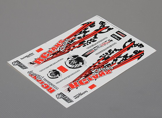 Self Adhesive Decal Sheet - RCfans Racing 1/10 Scale (335mm x 242mm)