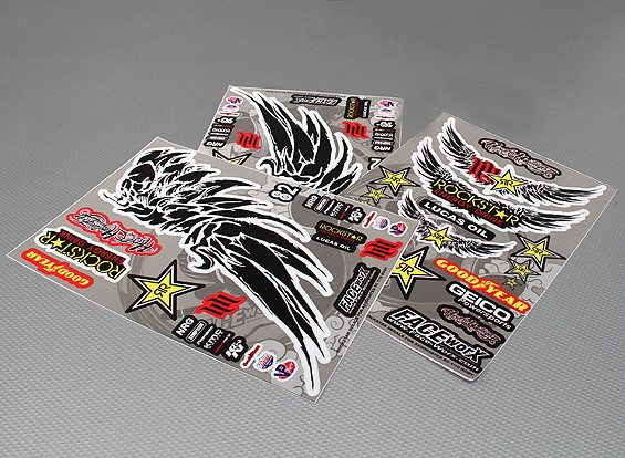 Self Adhesive Decal Sheet - RockStar 1/10 Scale (345mm x 240mm)