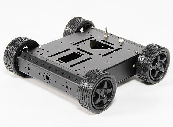 Aluminum 4WD Robot Chassis - Black (KIT)