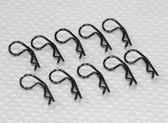 Small-ring 90 Deg Body Clips (Black) (10Pcs)