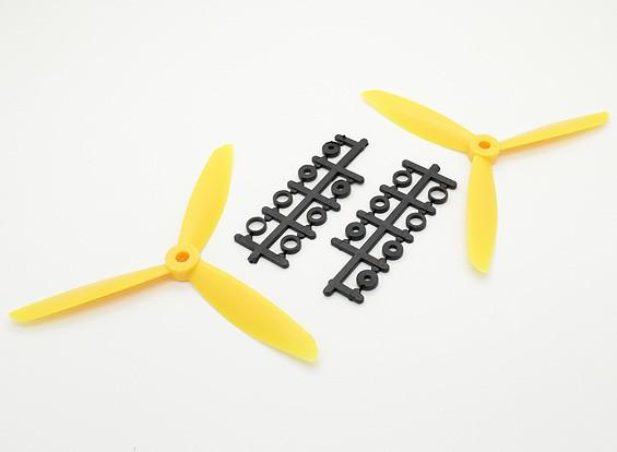 Hobbyking&#8482 3-Blade Propeller 6x4.5 Yellow (CW/CCW) (2pcs)